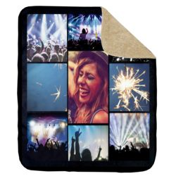 NEW!!! Personalized 'Nite 9' Photo Collage Ultra Plush Sherpa Throw Blanket - 50