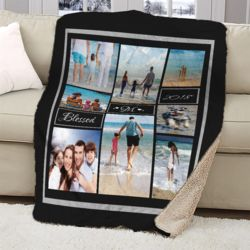 NEW!!! Personalized 'Blessed' Photo Collage Ultra Plush Large Sherpa Throw Blanket - 60