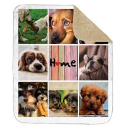 NEW!!! Personalized 'Home' Photo Collage Ultra Plush Large Sherpa Throw Blanket - 60