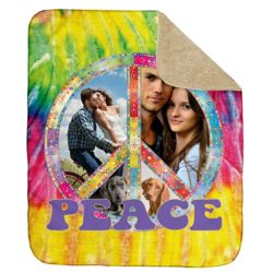NEW!!! Personalized 'Peace' Photo Collage Ultra Plush Sherpa Large Throw Blanket Blanket - 60