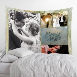 Personalized Photo Collage Fleece Wedding Tapestry with Optional Grommets - 60