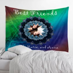 NEW!!! Best Friends Photo Collage Fleece Wall Tapestries with Optional Grommets - 80