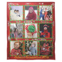 Personalized Photo Collage 'Christmas Border'  Fleece Christmas Blanket - 50