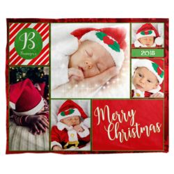Personalized Photo Collage 'ChristmasCard'  Fleece Christmas Blanket - 50