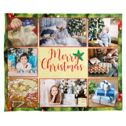 Personalized Photo Collage 'Holly Leaf Merry Christmas'  Fleece Christmas Blanket - 50
