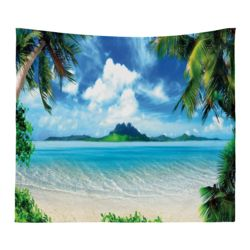 Personalized Photo Collage Microfiber Beach Scene Tapestry with Optional Grommets - 60