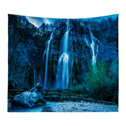 Personalized Photo Collage Microfiber Evening Waterfall Wall Tapestry - 60