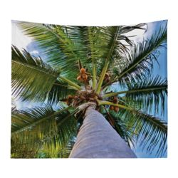 Personalized Photo Collage Coconut Tree Microfiber Wall Tapestry - 80