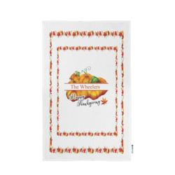 Personalized Photo Collage Thanksgiving Pumpkin & Leaves Kitchen Towel 11