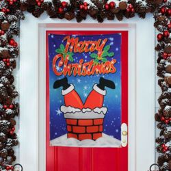 Personalized Upside Down Santa Door Tapestry Thumbnail