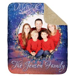 Personalized Merry Christmas Photo Collage Ultra Plush Sherpa Blanket - 50
