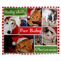 Personalized Photo Collage Fur Baby Christmas Soft Fleece Blanket - 50