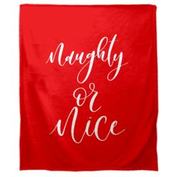 Personalized Christmas Naughty or Nice (Red) Soft Medium Fleece Blanket - 50