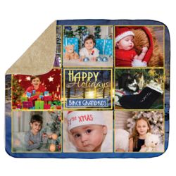 Personalized Photo Collage Happy Holiday's Christmas Ultra Plush Sherpa Blanket - 50