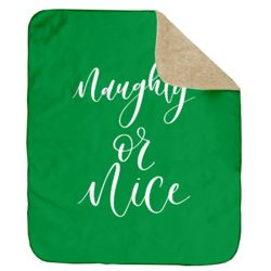 Personalized Christmas Naughty or Nice (Green) Ultra Plush Sherpa Blanket - 50