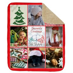 Personalized Photo Collage Season's Greetings Ultra Plush Sherpa Blanket - 50