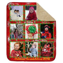 Personalized Photo Collage 'Christmas Border'  Ultra Plush Sherpa Blanket - 50