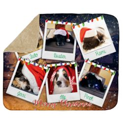 Personalized Photo Collage 'Polaroid Christmas' Ultra Plush Sherpa Blanket - 50