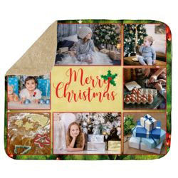 Personalized Photo Collage 'Holly Leaf Merry Christmas'  Ultra Plush Sherpa Blanket - 50
