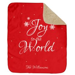 Personalized Christmas Joy to the World (Red) Ultra Plush Sherpa Blanket - 60