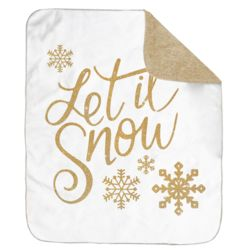 Personalized Christmas Let It Snow Ultra Plush Sherpa Blanket - 60