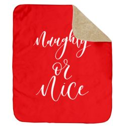 Personalized Christmas Naughty or Nice (Red) Ultra Plush Sherpa Blanket - 60