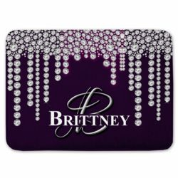 Personalized Dripping Diamond Monogrammed Coral Fleece Bath Mat Thumbnail
