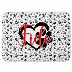 Personalized Paw Print Coral Fleece Bath Mat with Name Thumbnail