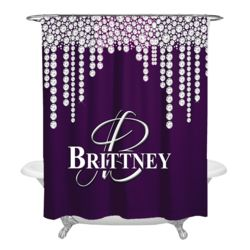 NEW!!! Dripping Diamonds Personalized Photo Shower Curtain Thumbnail