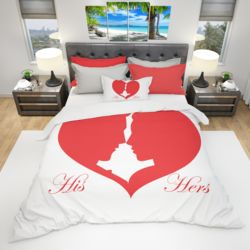 His & Hers Duvet Cover and PC Bundle - One Heart (Optional Personalization) Thumbnail
