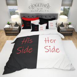 His & Hers Duvet Cover and PC Bundle - His Side/Her Side (Optional Personalization) Thumbnail
