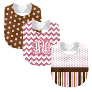 Monogrammed 'Dream' Pink and Brown 3 Piece Baby Bib Set Thumbnail