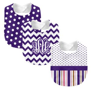 Monogrammed 'Dream' Pink and Purple 3 Piece Baby Bib Set  Thumbnail