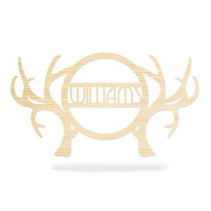 Wooden Deer Antlers Family Name Sign - Antler Door Hanger Thumbnail