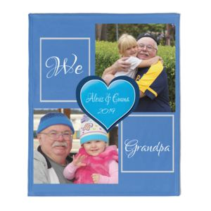 NEW!!! Personalized 'We Love Grandpa' Photo Collage Medium Soft Fleece Throw Blanket - 50
