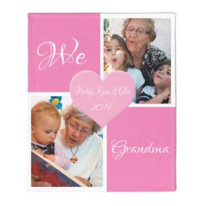 NEW!!! Personalized 'We Love Grandma' Photo Collage Medium Soft Fleece Throw Blanket - 50