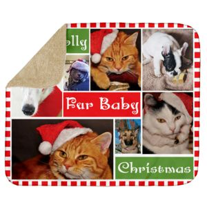 Personalized Photo Collage Fur Baby Christmas Ultra Plush Sherpa Blanket - 50