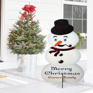Personalized Wooden Christmas Snow Man Cutout with Stand - 36