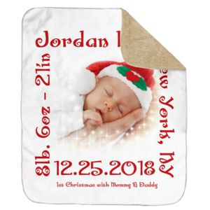 Personalized Christmas Photo Collage 1st Christmas Ultra Plush Sherpa Blanket - 50