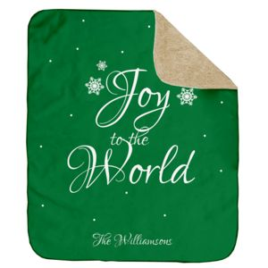 Personalized Christmas Joy to the World (Green) Ultra Plush Sherpa Blanket - 50