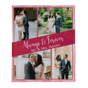 Personalized Valentines Day Always & Forever Fleece Blanket Thumbnail