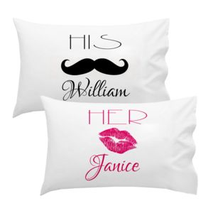 Personalized His Side Lip Stache Pillowcase Set Thumbnail
