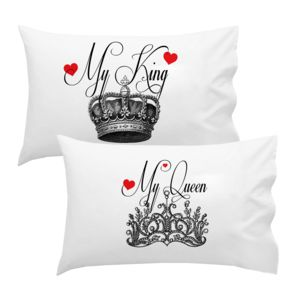 Personalized His & Hers My King My Queen Pillowcase Set Thumbnail