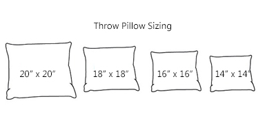 Standard Decorative Pillow Dimensions : Product sizes - Lifestyles by Ramco